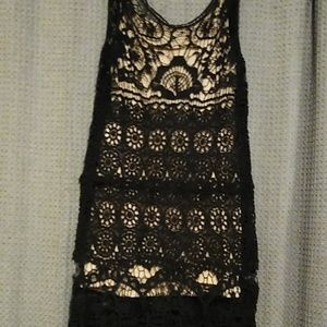 Black and cream crochet dress. Size XL